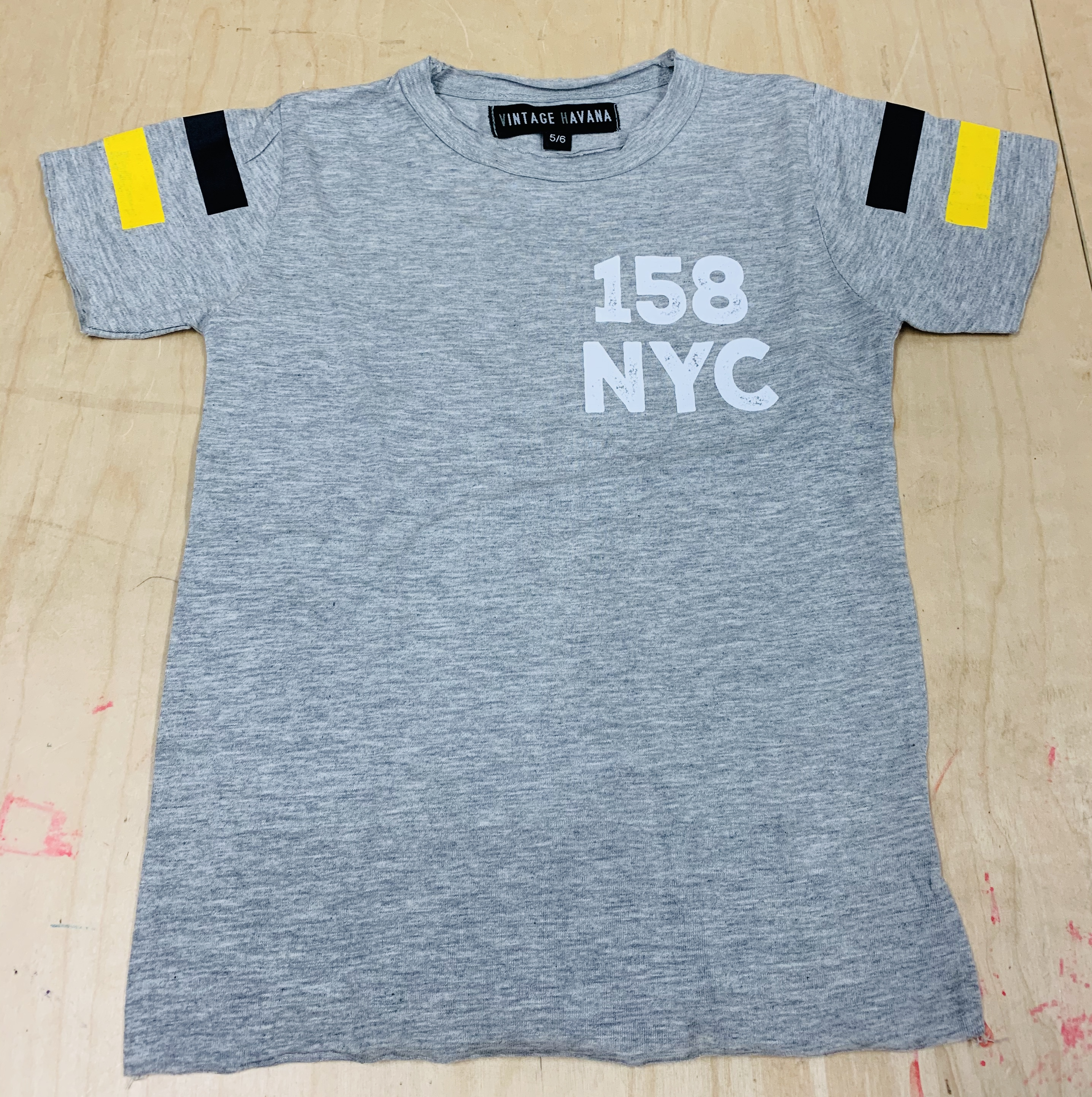 T-shirt - Grey w/ Black and Yellow Stripes - Youth