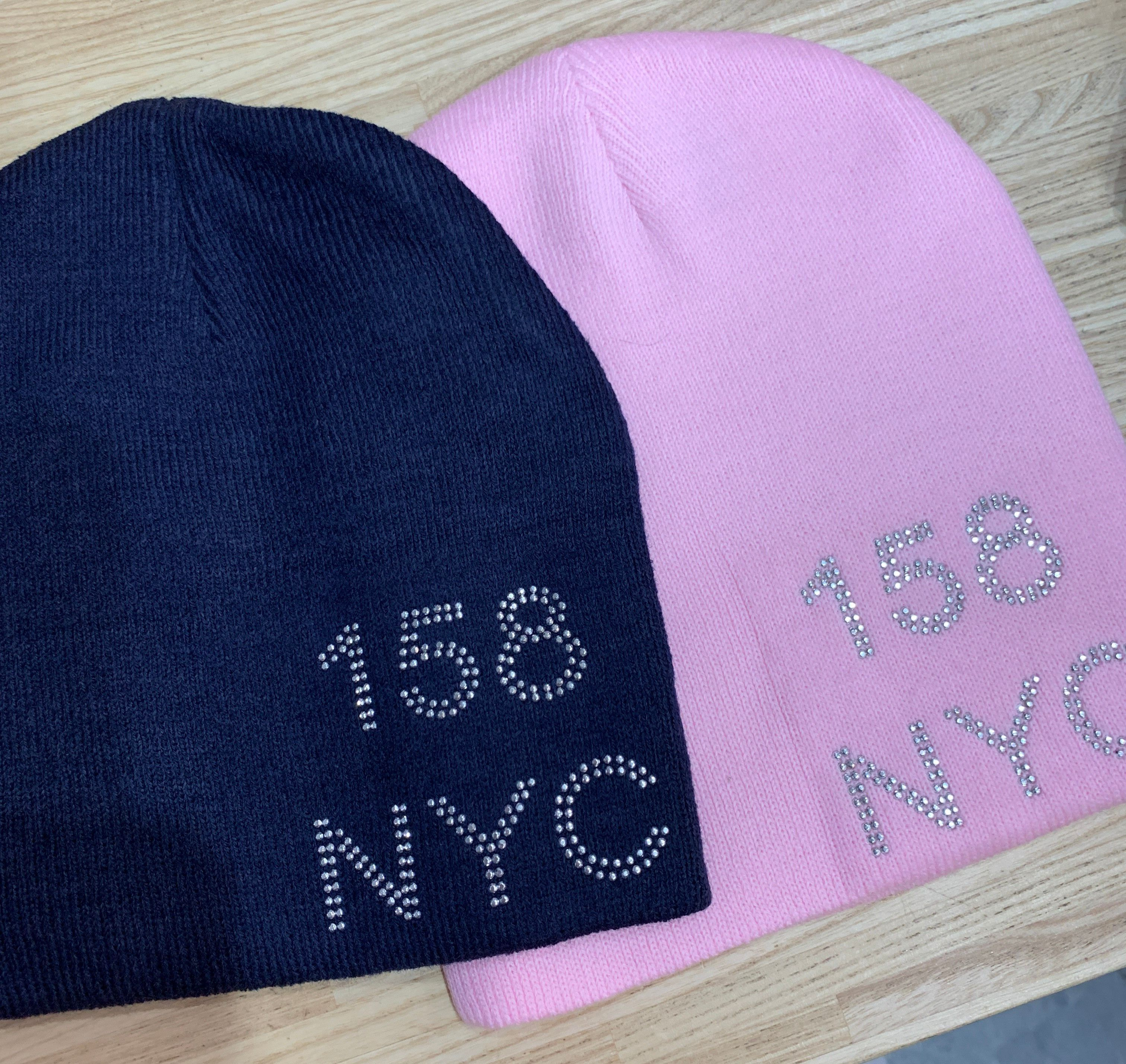 Beanie - Navy or Pink w/ Crystals